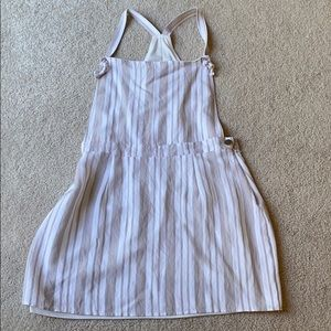 Beige and white stripe mini dress